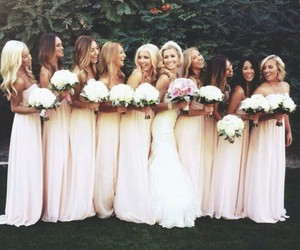 dress, bride, and bridesmaid image