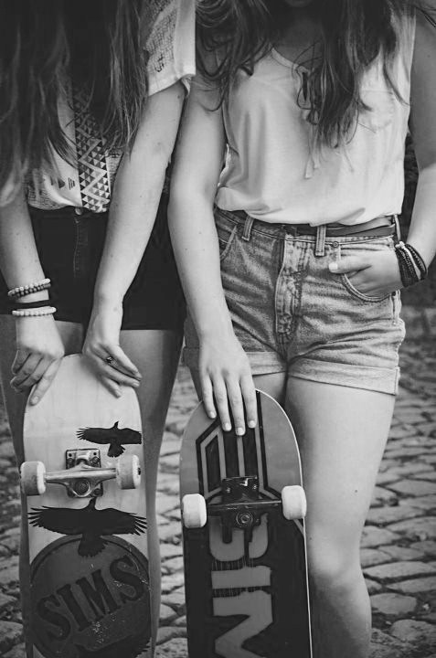 girl, skate, and friends image