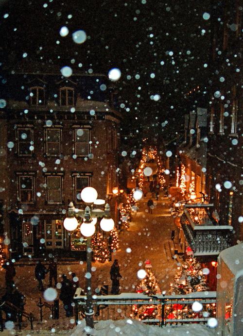 snow, christmas, and street image
