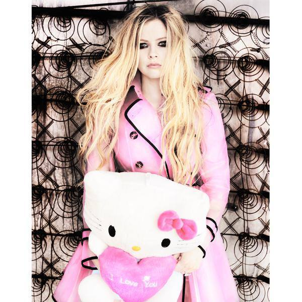 Avril Lavigne, hello kitty, and pink image