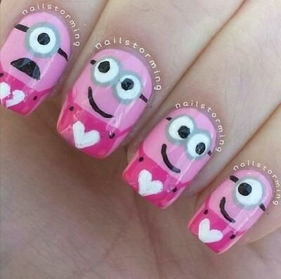 nails, minions, and pink image