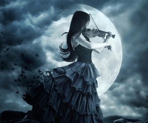 violin, moon, and dark image