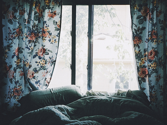 bed, flowers, and window image