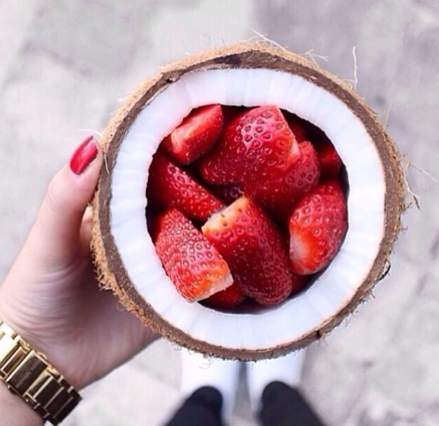 strawberry, food, and coconut image
