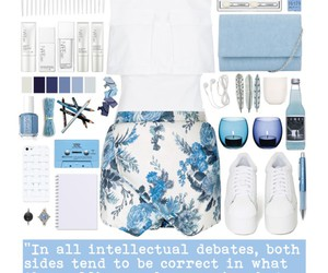 blue, flower pattern, and outfit image