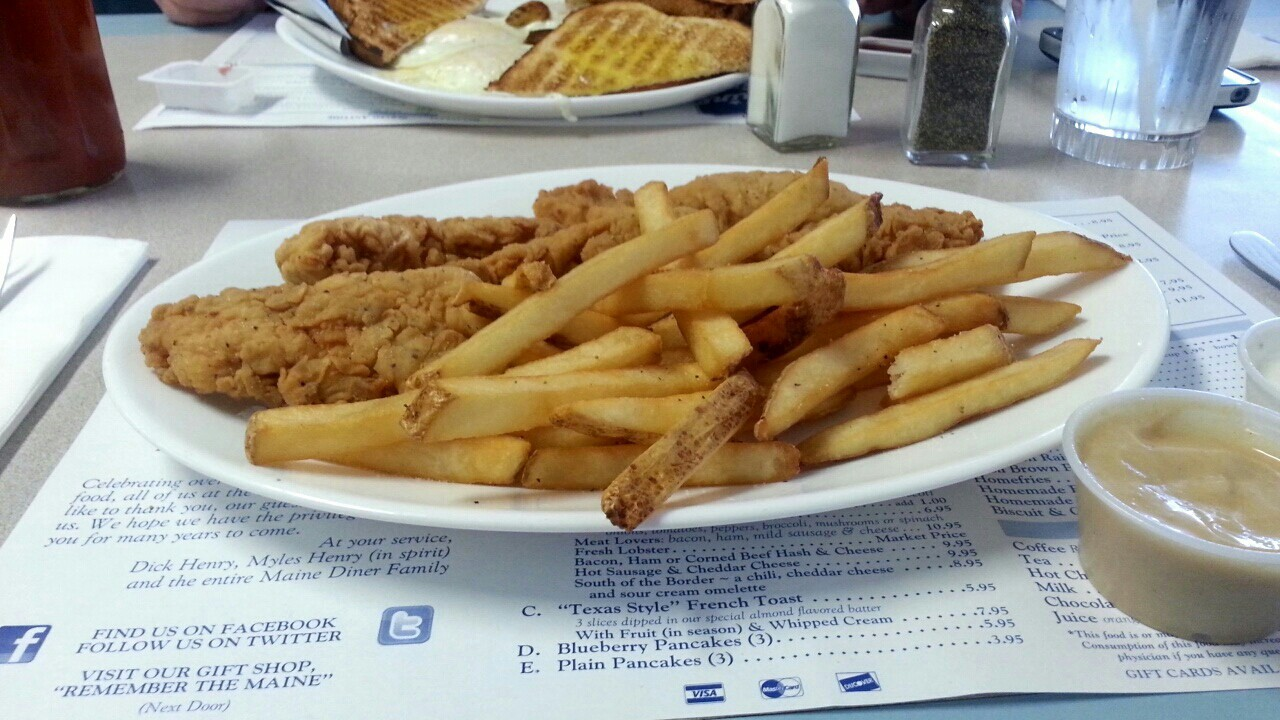 Chicken, chicken fingers, and fast food image