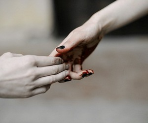 black nails, blood, and pale skin image