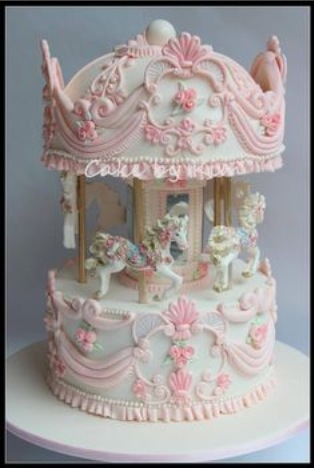 pink, cake, and carousel image
