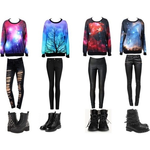 outfit, fashion, and galaxy image