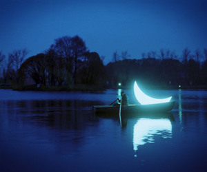 moon, boat, and night image
