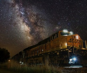 night, trains, and places image