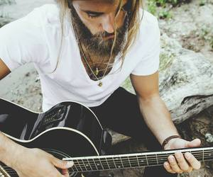beard, beautiful, and guitar image