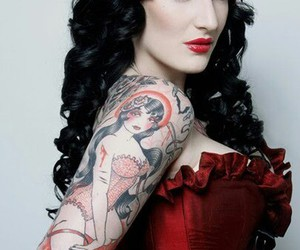 corset, Pin Up, and tattoo image