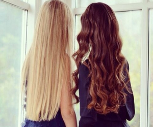 hair, blonde, and brunette image