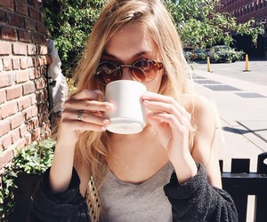 girl, blonde, and coffee image
