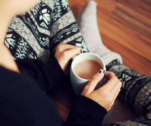 girl, coffee, and winter image