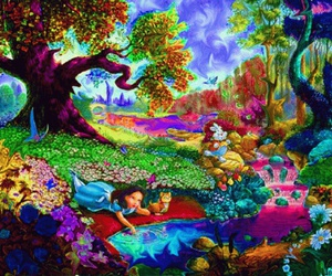 trippy, alice, and alice in wonderland image
