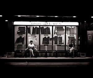 b&w, waiting, and bus stop image