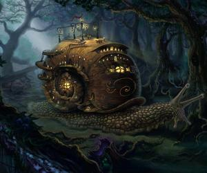 fantasy, snail, and forest image