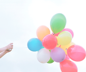 balloons, rainbow, and cute image