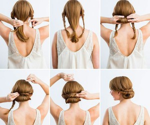 braiding, bride, and hair image