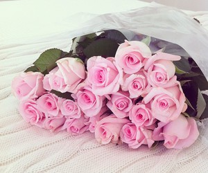 boquet, flowers, and pink image