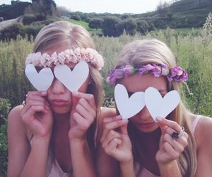 flower headband, girls, and paper hearts image