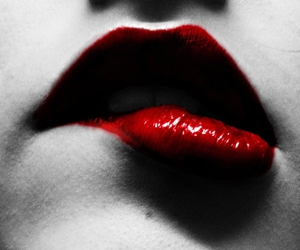 lips, bite, and red image