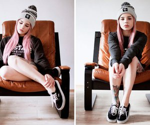 beanie, girl, and pink hair image
