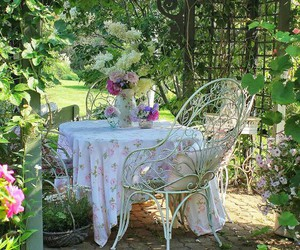 garden, shabby chic, and outdoor spaces image