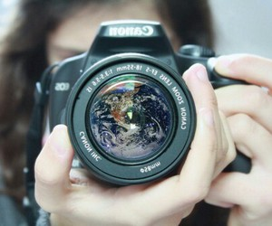 camera, canon, and earth image