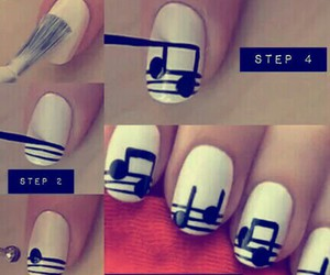 black and white, music, and nail art image