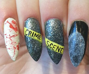 crime scene, Halloween, and nails image