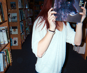 girl, wolf, and book image