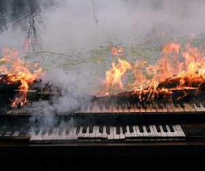 piano, fire, and music image