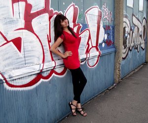 girl, grafitti, and red image
