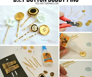 diy, buttons, and bobby pins image