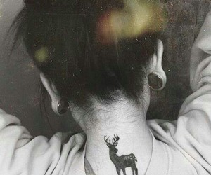 tattoo, deer, and black and white image