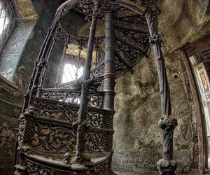 old, vintage, and stairs image