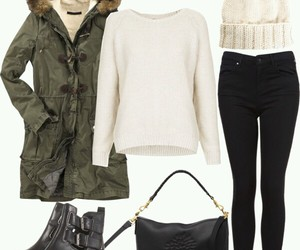 black boots, black pants, and white sweater image