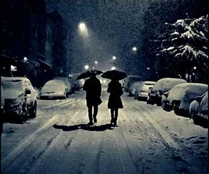 cold, snow, and couple image