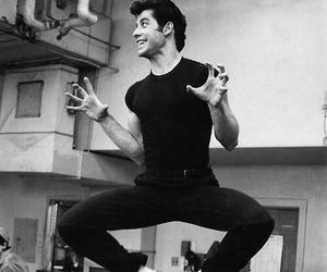 grease, John Travolta, and black and white image