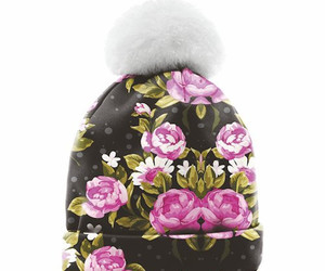 beanie, fashion, and flowers image