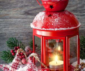 christmas, lantern, and red image