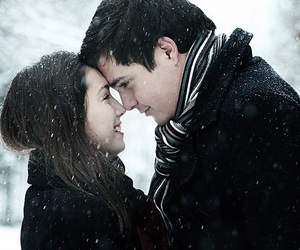 couple, smile, and snow image