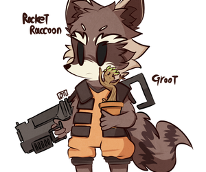 rocket, groot, and cute image