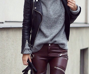 burgandy, cool outfit, and grey jumper image