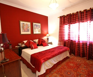 bedroom, home decor, and red image
