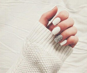 nails, white, and sweater image