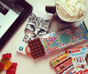 kinder, food, and cat image